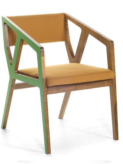 Stealth Chair. Made of solid teak with green formica / HPL