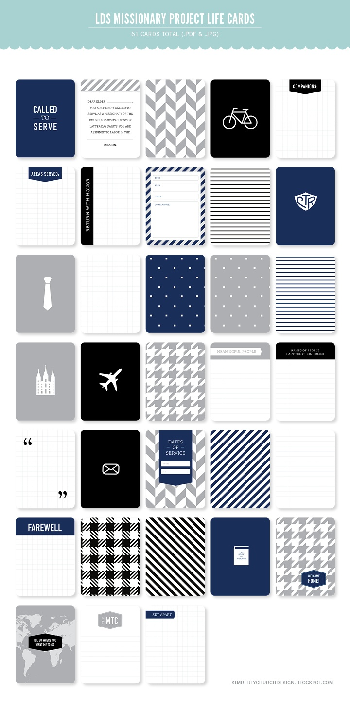    LDS Missionary Project Life Set. -- I'm not Mormon but I think I want this anyway: navy, gray, fun patterns, and travel :)