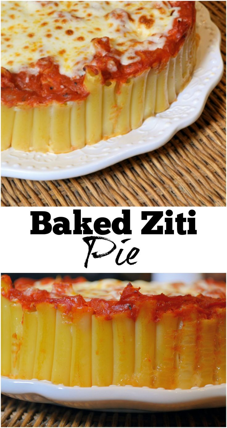 Baked Ziti Pie Recipe - WOW your diners with this amazingly simple dish. Al dente pasta baked in a spring form pan held together with an Italian cheese blend and smothered in marinara sauce.