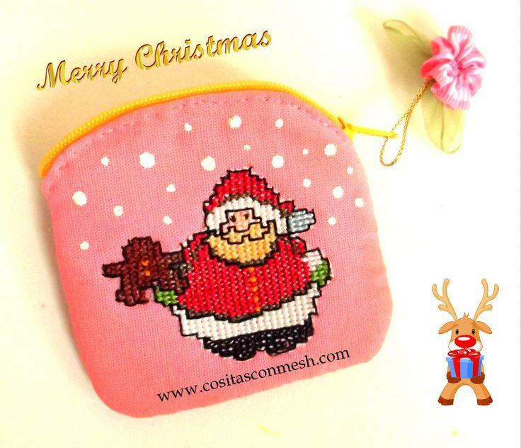 cmo hacer un bonito monedero navideo en punto de cruz diy regalos hechos a