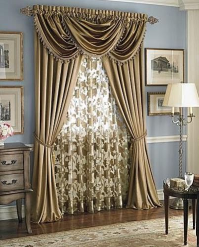 Luxury HILTON WINDOW TREATMENT Royal Velvetset Of 2 Panel 3 Valance BEIGE Curtain IdeasWindow CurtainsFrench CurtainsDining Room
