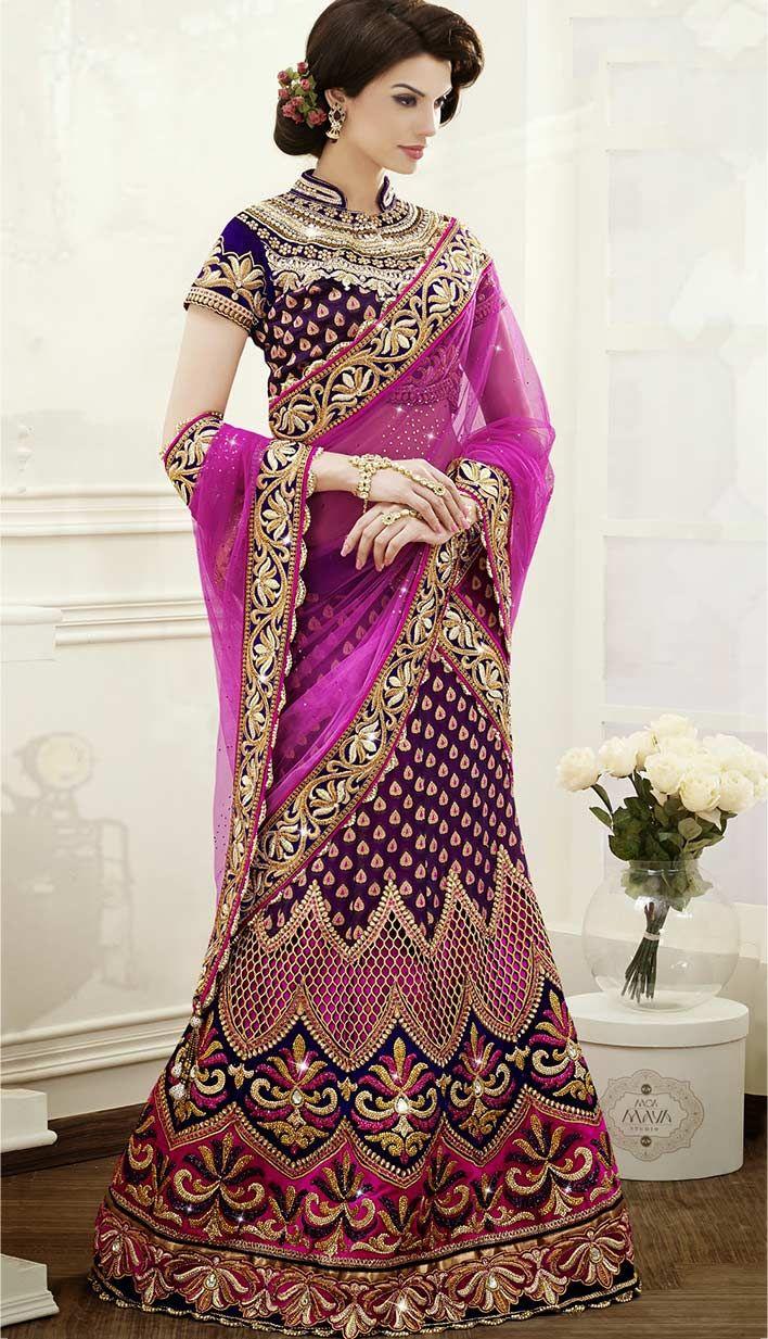Indian Designer Purple Viscose Jacquard Satin Bridal Lehanga Choli-   #indianLehengaCholi Link- http://bit.ly/indianLehengaCholi