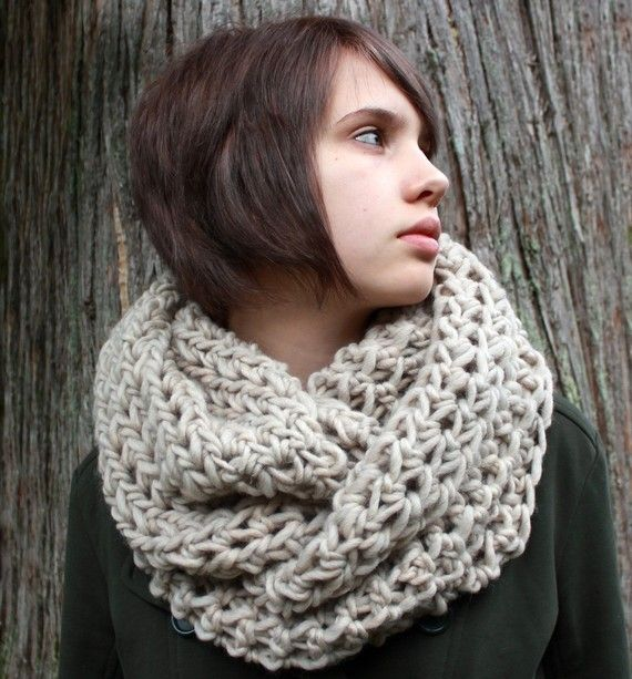 tan cowl, 100% wool (it says?) would love it in the mustard color!
