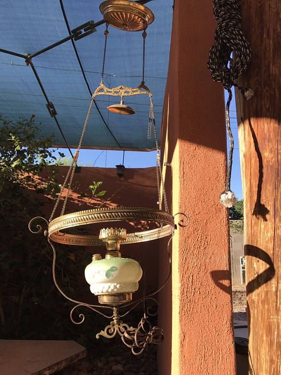 Antique Victorian Green Floral Glass Hanging Kerosene Parlour..$90