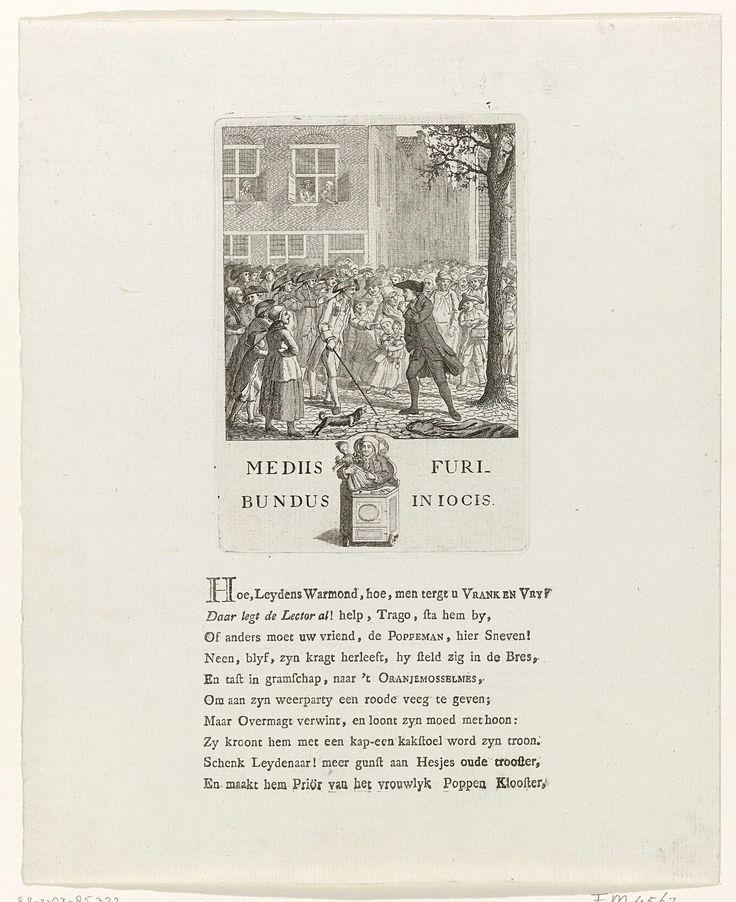Anonymous | Spotprent op Johannes le Francq van Berkhey, 1784, Anonymous, 1784 | Spotprent op de bedreiging van de prinsgezinde Johannes le Francq van Berkhey door patriotse studenten op het Rapenburg te Leiden, 2 oktober 1784. Le Francq van Berkhey werpt zijn toga af en neemt de vechthouding aan. In de marge een afbeelding van Johannes le Francq van Berkhey spelend met een pop in een rinkelstoel (kinderstoel op wieltjes) met het opschrift: mediis furibundus in jocis. Op het blad onder de…