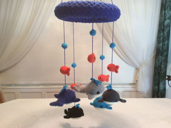 Whale and goldfish baby mobile tutorial  crochet by Teddywings/ CROCHET pattern