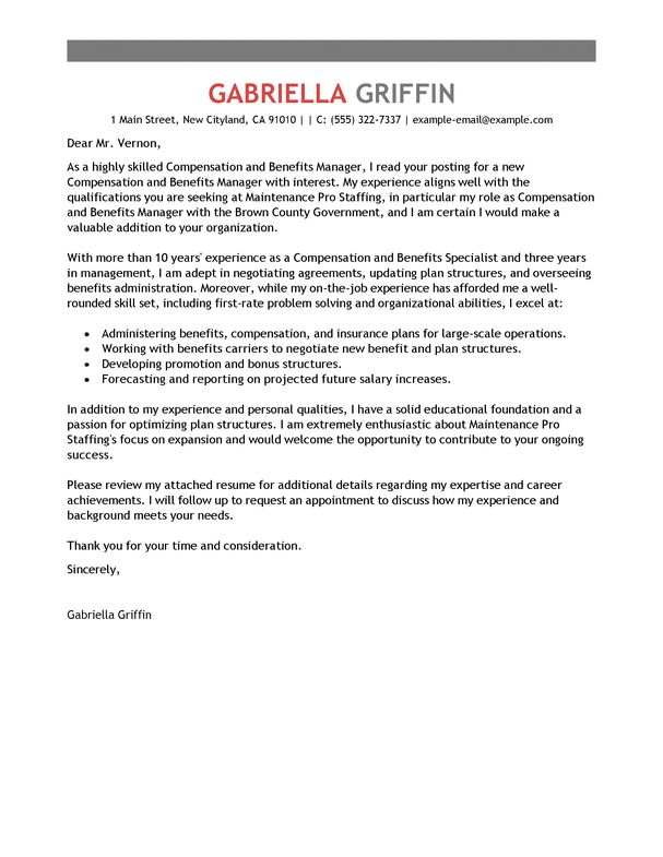 best compensation and benefits cover letter examples livecareer - compensation and benefits manager sample resume