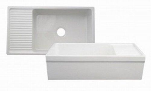 36 Inch Fireclay Farmhouse Sink : ... 36-Inch Reversible Fireclay Sink with Apron, White - Single Bowl Sinks