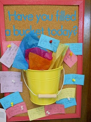How full is your bucket? is a good read about giving praise and staying positive. Read kids versions of the bucket book to class and keep a bucket or bulletin board for them to fill to praise one another.