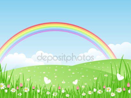 Landskap med en regnbåge. vektor illustration — Stockillustration #5098696