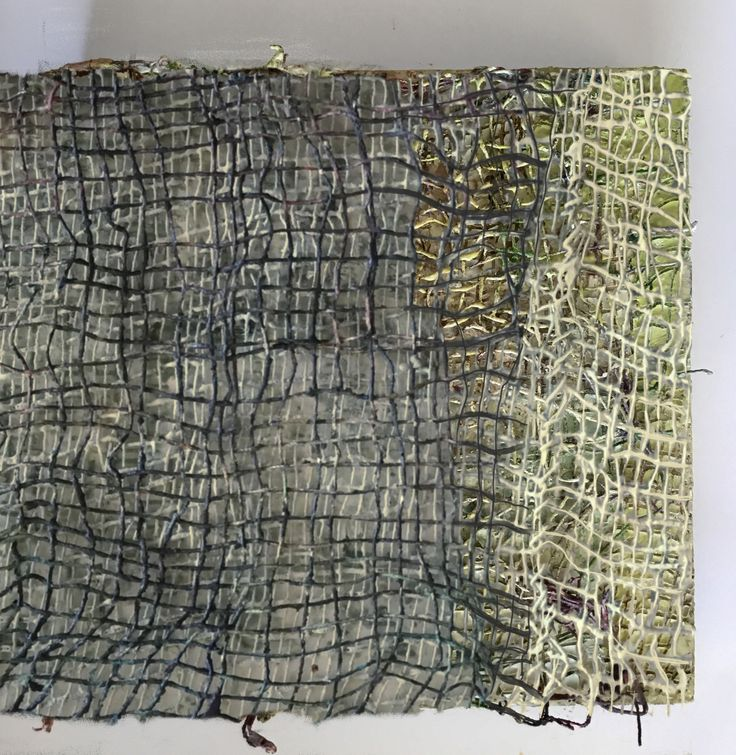 """Working with layers of weave and transparencies. 12"""" X 12"""". Threads and encaustic on panel, Anna Wagner-Ott"""