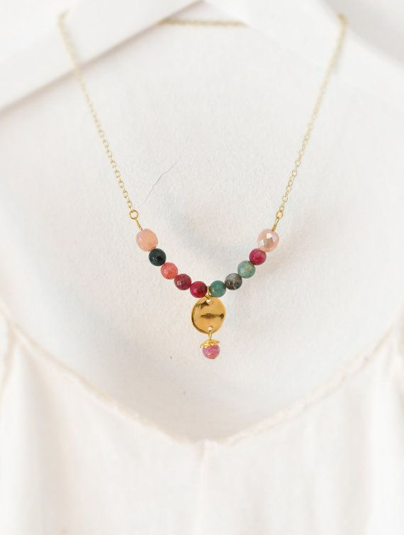 Semiprecious Stone Necklace  Agate Necklace  by stellacreations