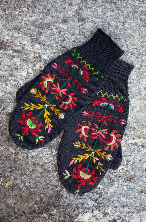 Embroidery is often used to decorate knitted hand garments all over Scandinavia.