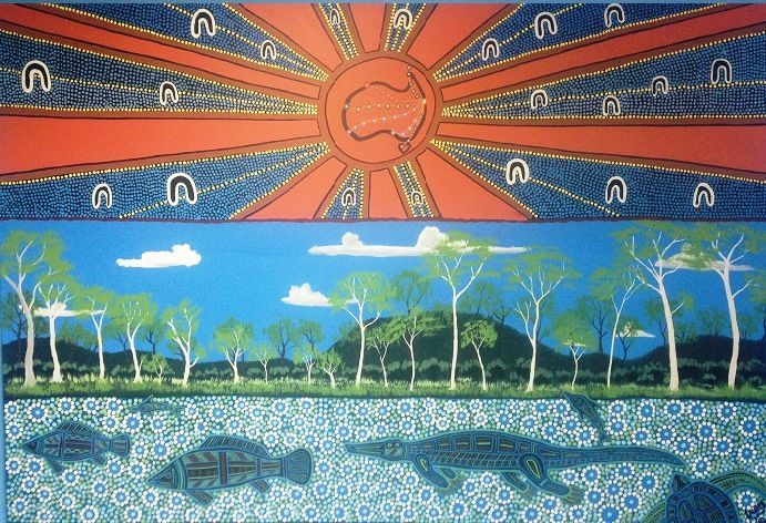 Dhanbarrunb and expression of the Fitzroy Rivier and the business communities of Rockhampton Central Queensland. SOLD