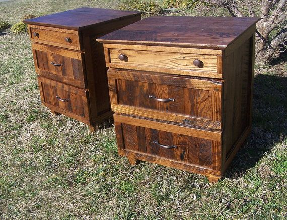 Rustic Oak Nightstand with 3 Drawers by BarnWoodFurniture on Etsy, $625.00