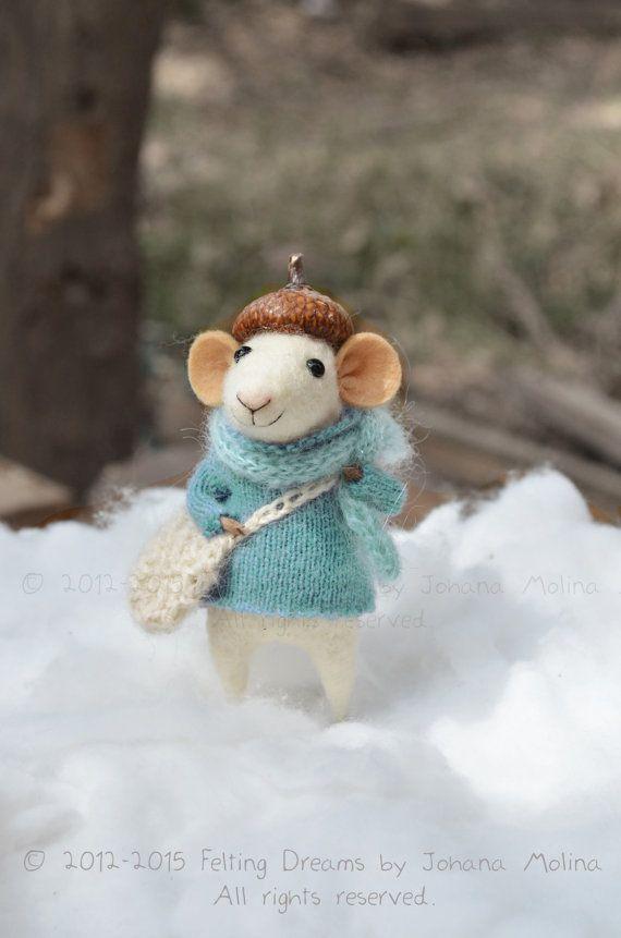 Little Christmas Mouse - Natale-Inverno stagionale ornamento-infeltrimento sogni - pronti a spedire