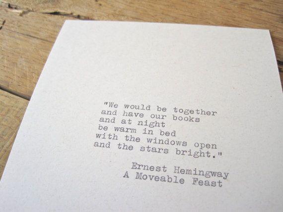 Typewriter quote. Hemingway Quote . 5x7 wall print