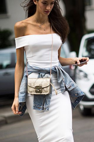 #SaraRossetto working off the shoulders with denim round the waist. Milan. pinterest.com/sahstarr