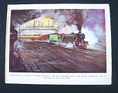 Vintage Train Illustration by Frank H Mason -  Night Express and Locomotive Works