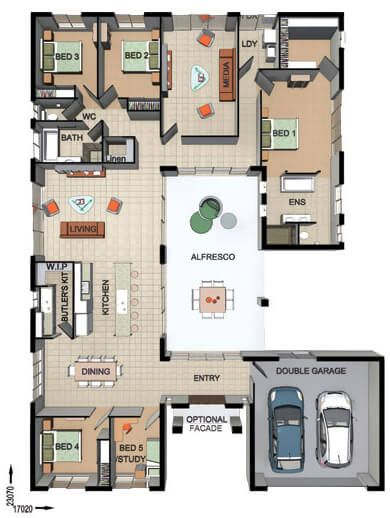 Floor Plan Friday: 4 bedroom + study with Alfresco in the middle