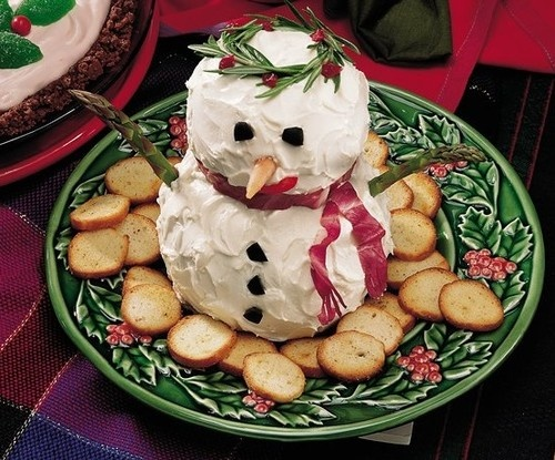 Christmas Party Food..lol - snowman cheese ball(s)