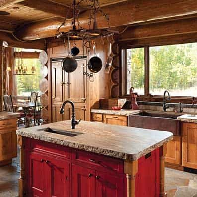 Handcrafted Log Rustic Cabin Kitchen