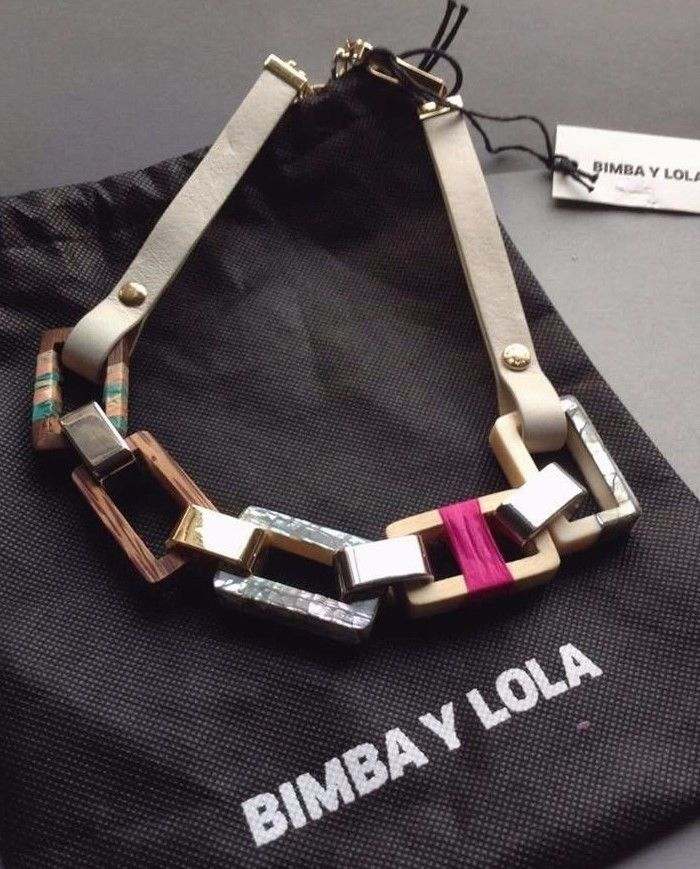 Bimba Y Lola NWT & Bag Mixed Media Necklace, hard to find, leather/wood/plastic #BimbaLola #MixMedia