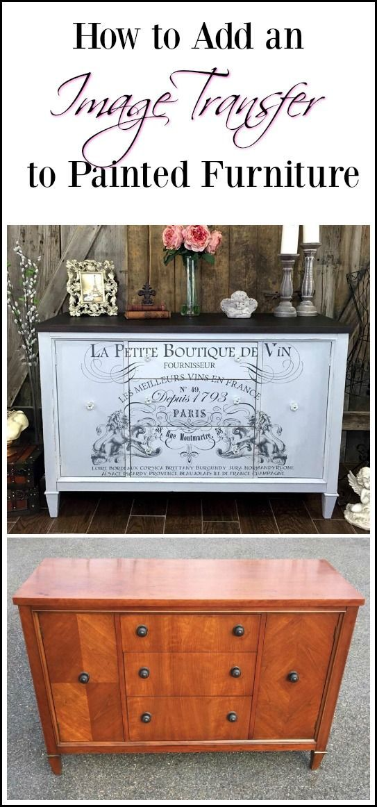 French image transfer on painted vintage buffet