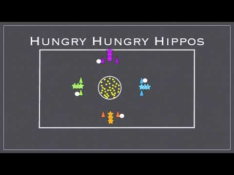 Physed Games - Hungry Hungry Hippos tennis balls and buckets/bins K-8th Grade
