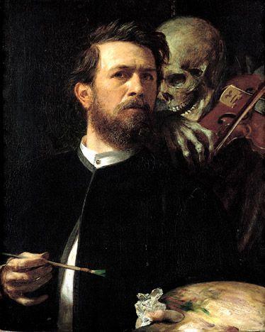 Arnold Böcklin (1827-1901) – Selbstbildnis mit fiedelndem Tod (1872) Staatliche Museen, Berlin