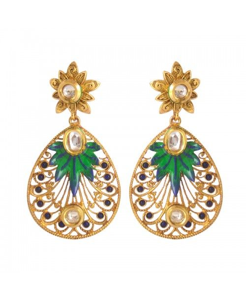 Women's Fashionable Kundan Polki Copper Earrings_Blue Green8