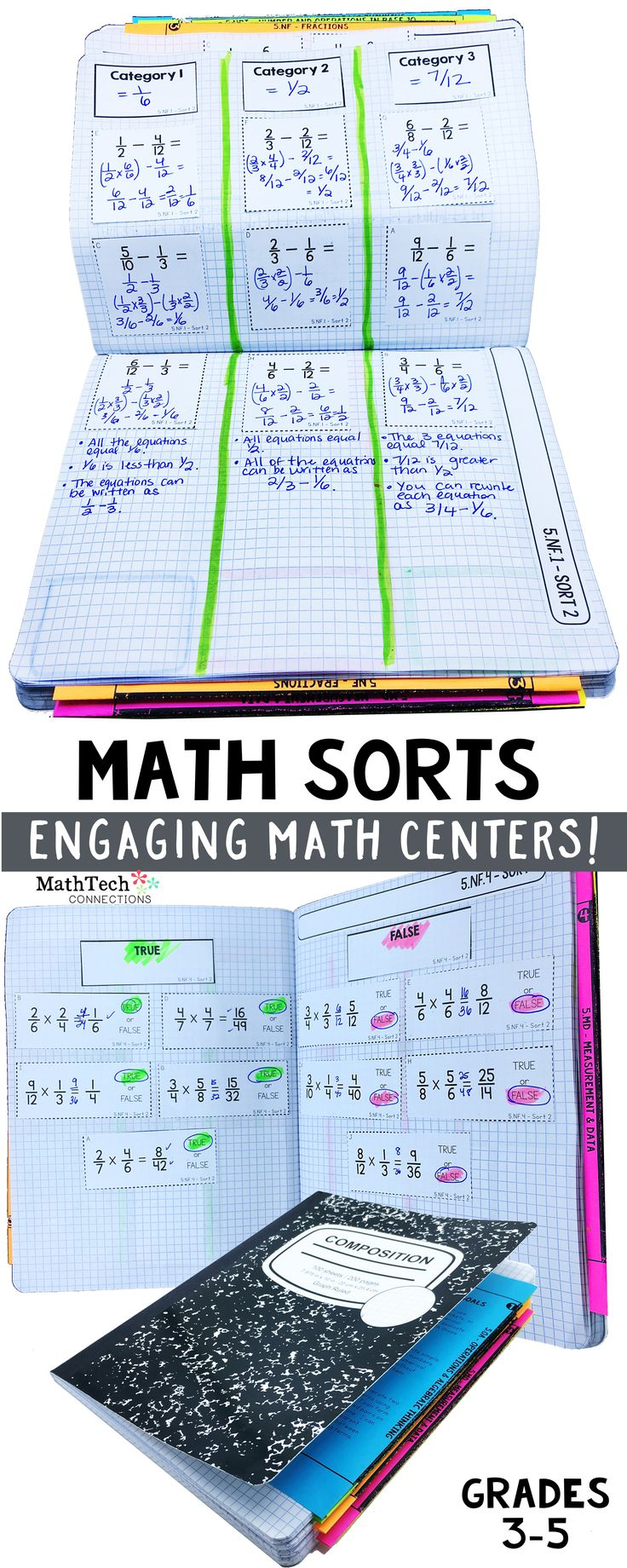 Engaging, standard specific math centers! Students will love these fun, new math centers! There are 3 for each common core standard, so you will have resources for whole group instruction, small group or center practice, and assessment! Binder pages for teacher organization are also included! Student dividers to keep math sorts organized are also included!