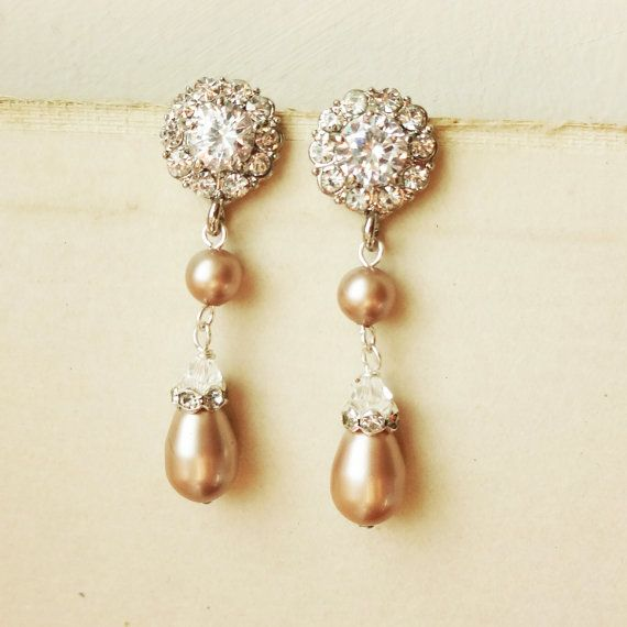 Champagne Pearl Bridal Earrings, Vintage Style Rhinestone Wedding Earrings, Champagne Pearl Bridal Jewelry, CARLY
