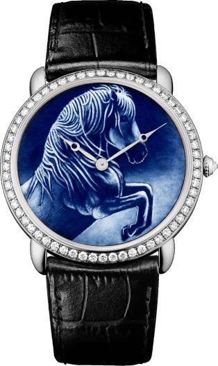 Cartier d'Art Ronde Louis Cartier watch XL, rhodiumized 18K white gold, leather, diamonds
