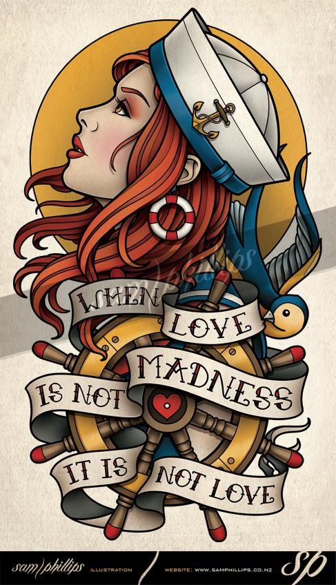 This is a sailor girl inner upper arm tattoo I designed for David Miller. He wanted a design similar to the gypsy I designed for Erik Akervall, with the same quote but with a sailor girl theme.