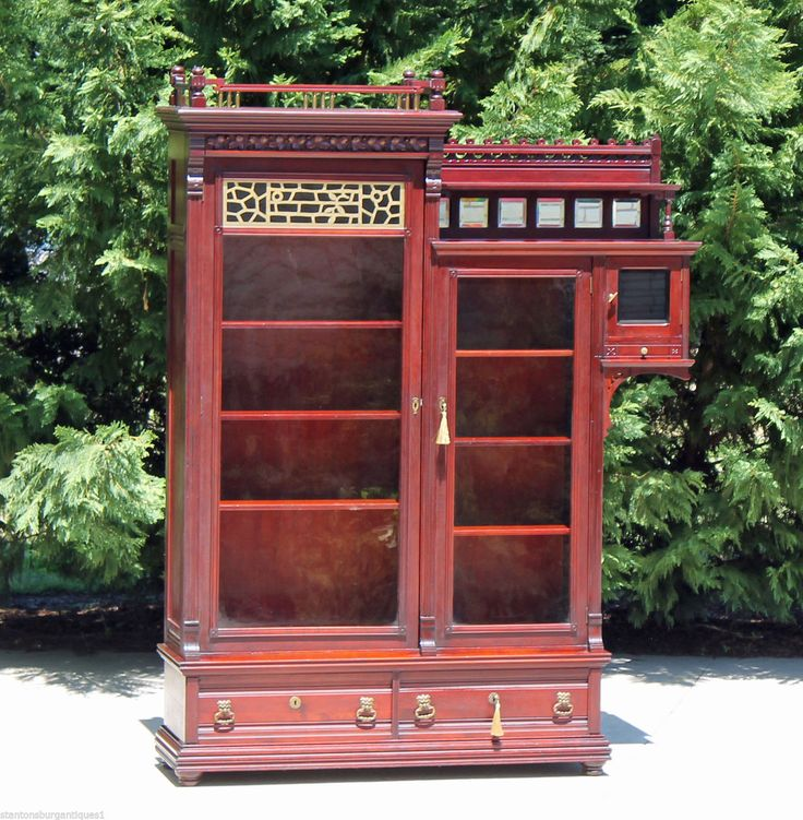 Aesthetic Victorian Solid Mahogany Bookcase wSide Cabinet & Gallery 2 Keys c1890   eBay