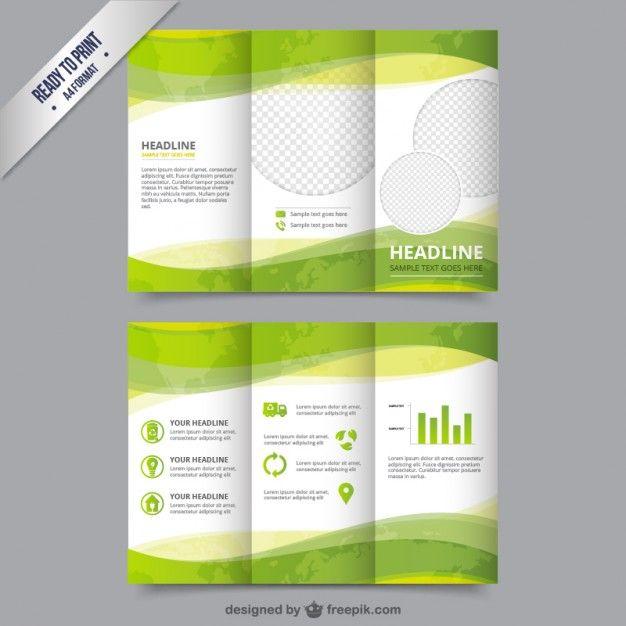 Plantilla de folleto eco en color verde Vector Gratis                                                                                                                             Más