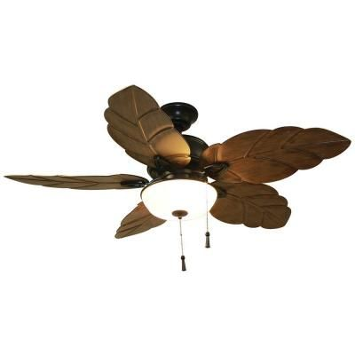 Home Decorators Collection Palm Cove 52 In. Indoor/Outdoor Natural Iron Ceiling  Fan With Light Kit