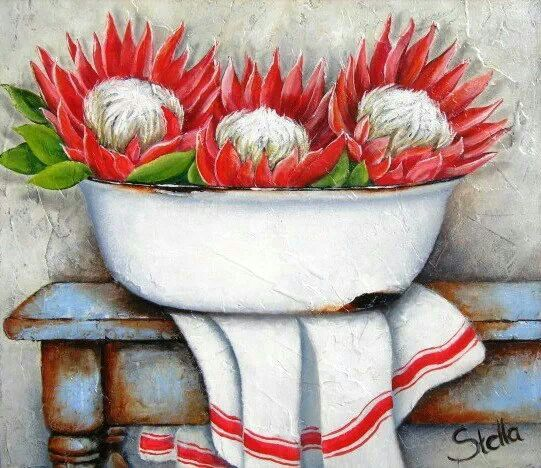 ♥ Stella Bruwer South Africa white enamel basin red and white protea white towel with red stripe on rusty blue table
