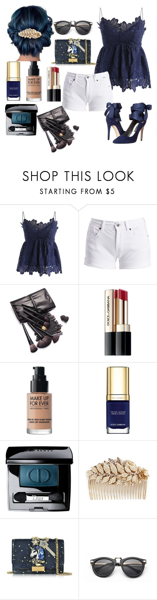 """""""BLUE"""" by jody-glasgow on Polyvore featuring Chicwish, Barbour International, Dolce&Gabbana, MAKE UP FOR EVER, Christian Dior, Miriam Haskell and GEDEBE"""