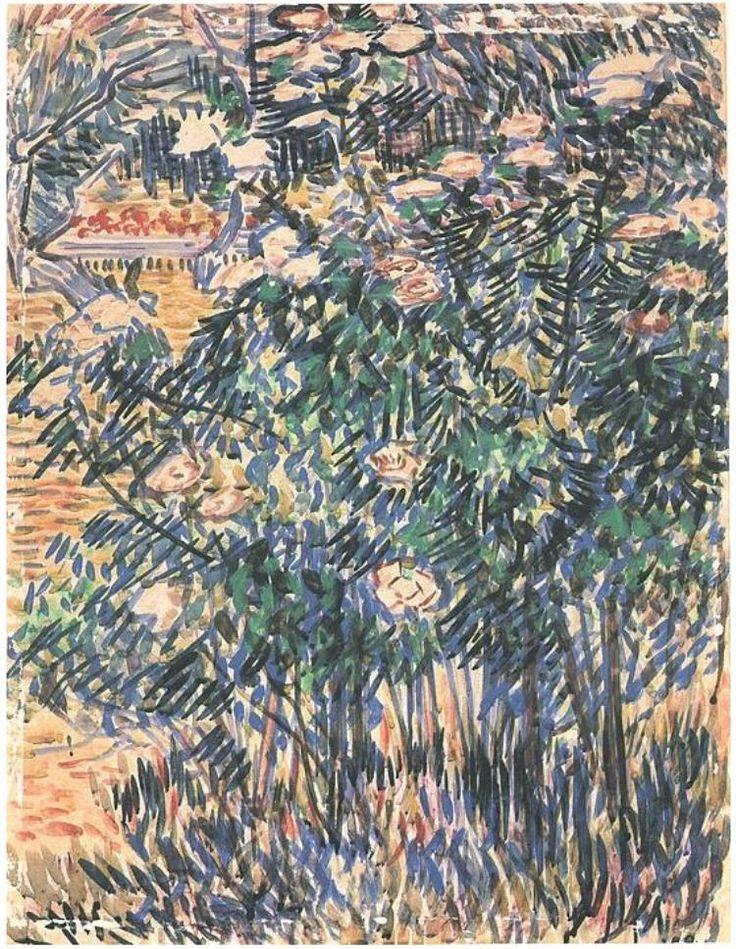 Vincent van Gogh Arbustos en flor Watercolor