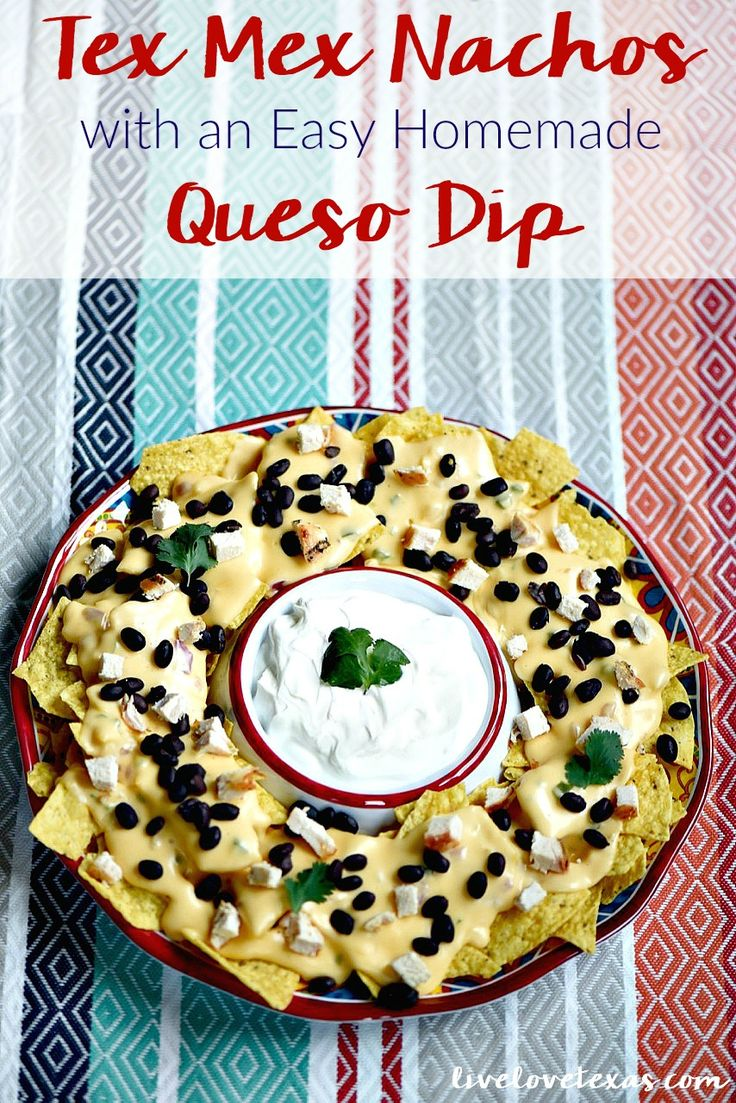 Enjoy nachos at home with a twist. These are the Best Tex Mex Nachos topped with an Easy Homemade Queso Dip Recipe...and without boxed, processed cheese! #ad