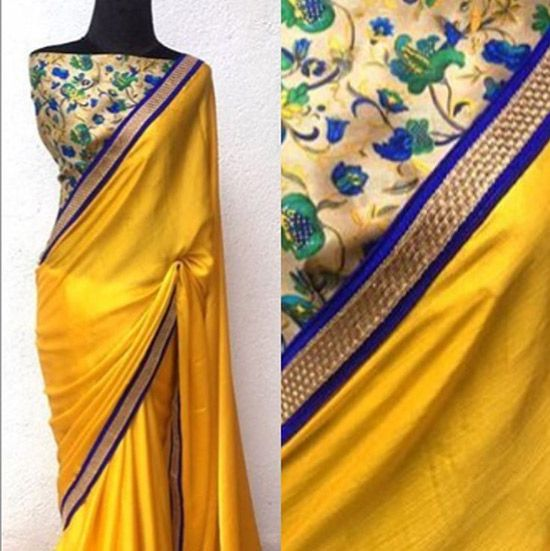 Silk Saree Blouse Designs - Floral Raw Silk Blouse For Plain ChiffonRaw Silk Sarees