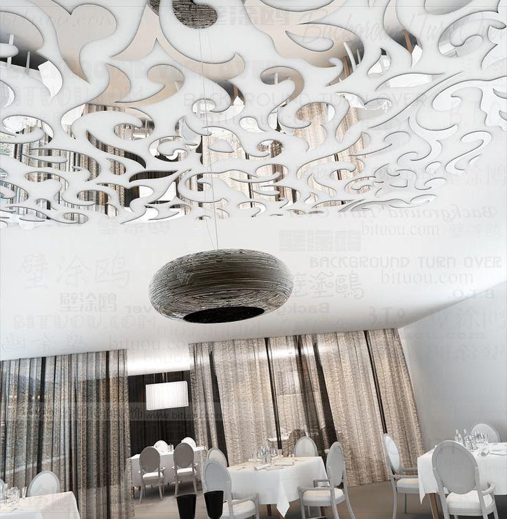 236 ceiling mirror wall sticker home decor art decal Christmas papel de parede paper restaurant Decorative lights