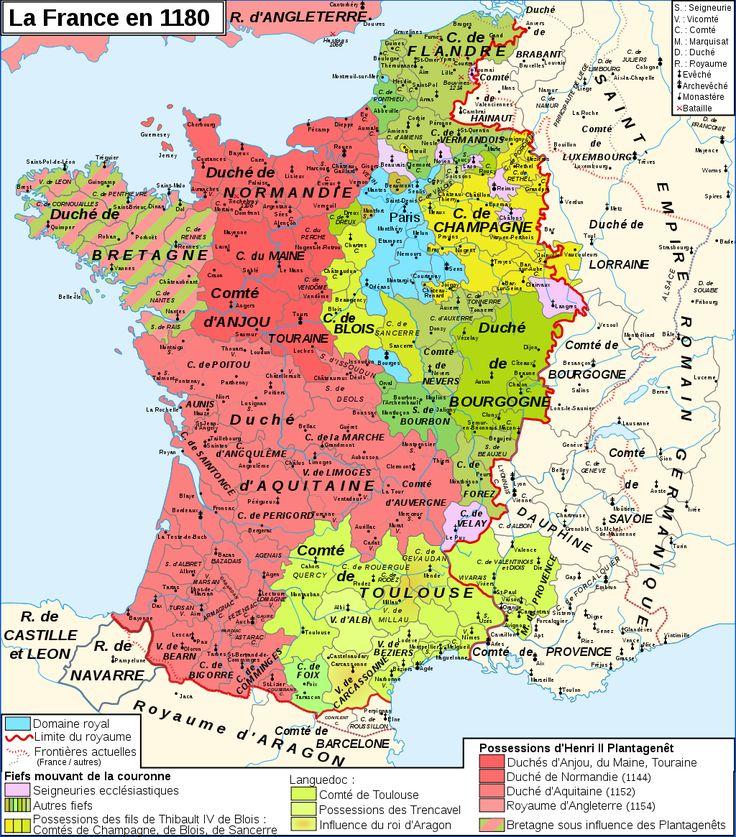 Carte du royaume des capétiens en 1180