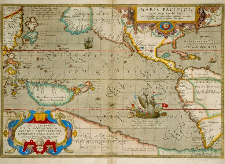 "Map of the Pacific Ocean: ""Maris Pacifici."" Abraham Ortellius. Philadelphia Museum of Art."