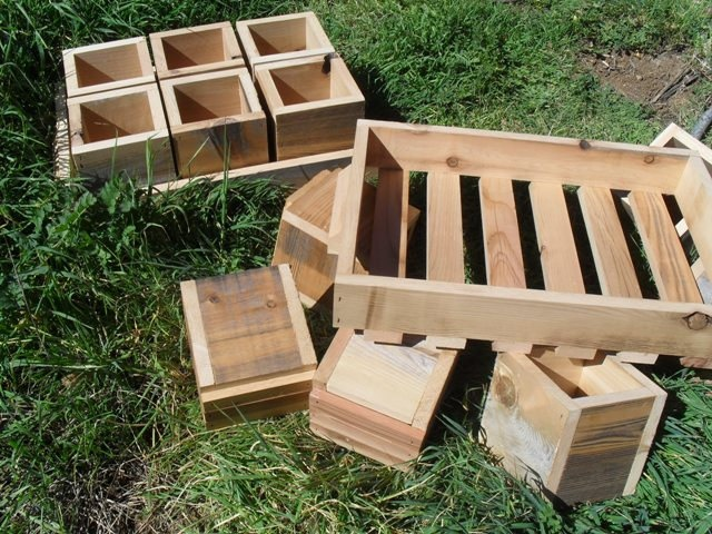 Handmade Herb Garden Pots And 2 Wood Carrying Trays Recycled Resurfaced  Repurposed Wood Balcony Herb Garden
