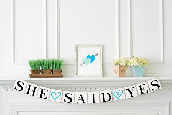 Turquoise Bridal Shower Decor She Said Yes by PetiteFlowersStudio