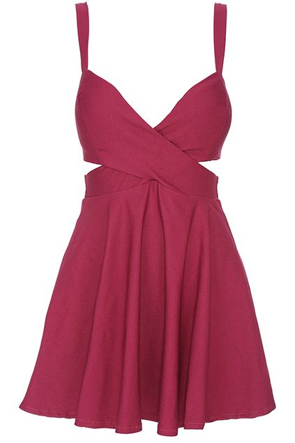 ROMWE Cut-out Crossed Pieced Purple Camisole Bandeau Dress