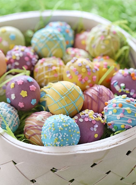 Fill an Easter basket with Easter Egg Cupcake Bites for a delicious holiday with this easy + festive dessert recipe.